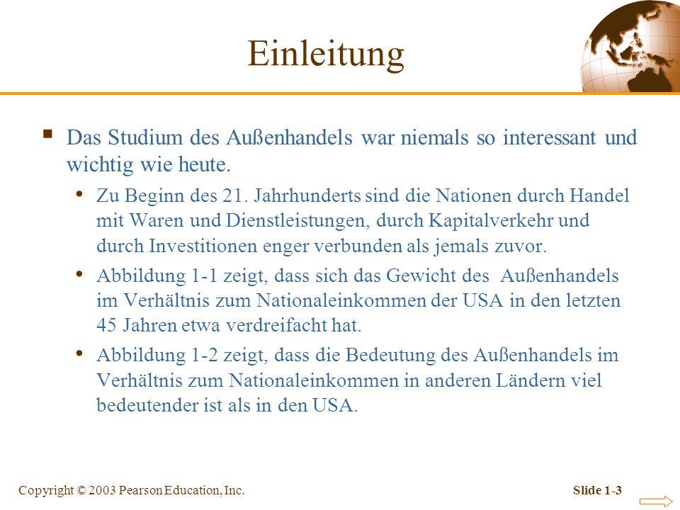 Copyright © 2003 Pearson Education, Inc.Slide 1-3 Das Studium des Außenhandels war niemals so interessant und wichtig wie heute. Zu Beginn des 21. Jah