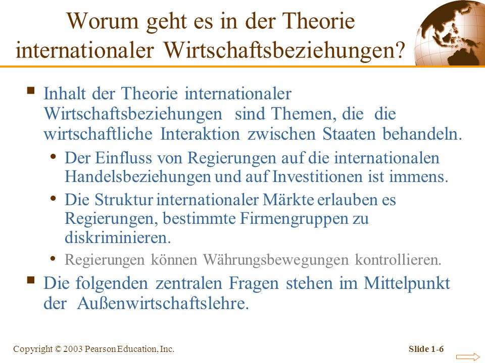 Copyright © 2003 Pearson Education, Inc.Slide 1-6 Inhalt der Theorie internationaler Wirtschaftsbeziehungen sind Themen, die die wirtschaftliche Inter