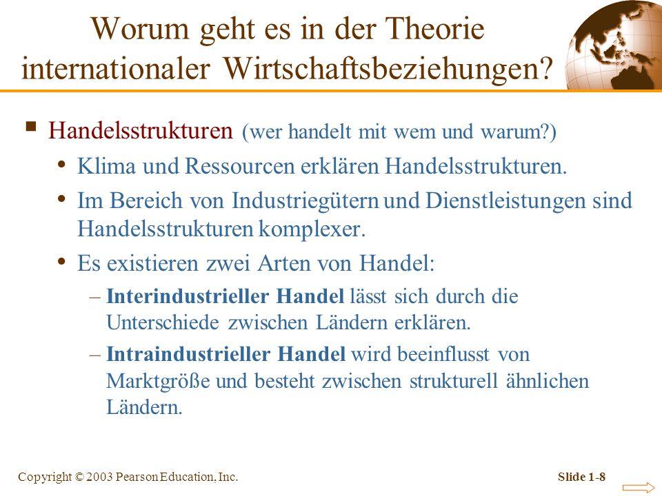 Copyright © 2003 Pearson Education, Inc.Slide 1-8 Handelsstrukturen (wer handelt mit wem und warum?) Klima und Ressourcen erklären Handelsstrukturen.