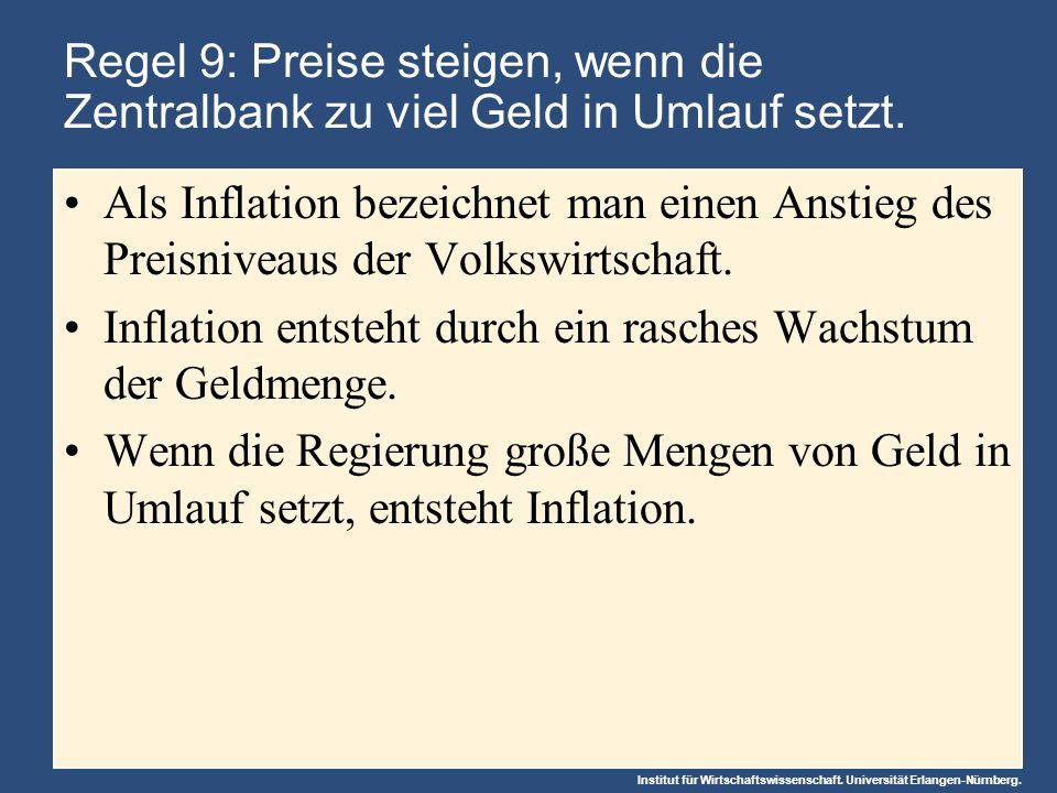 Institut für Wirtschaftswissenschaft. Universität Erlangen-Nürnberg. Regel 9: Preise steigen, wenn die Zentralbank zu viel Geld in Umlauf setzt. Als I