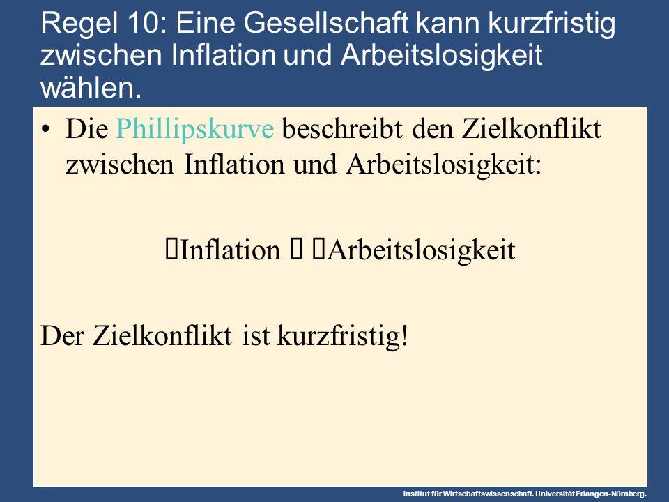 Institut für Wirtschaftswissenschaft. Universität Erlangen-Nürnberg. Regel 10: Eine Gesellschaft kann kurzfristig zwischen Inflation und Arbeitslosigk