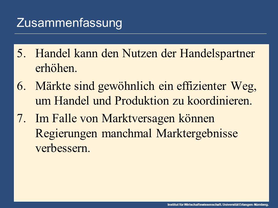 Institut für Wirtschaftswissenschaft. Universität Erlangen-Nürnberg. Zusammenfassung 5.Handel kann den Nutzen der Handelspartner erhöhen. 6.Märkte sin