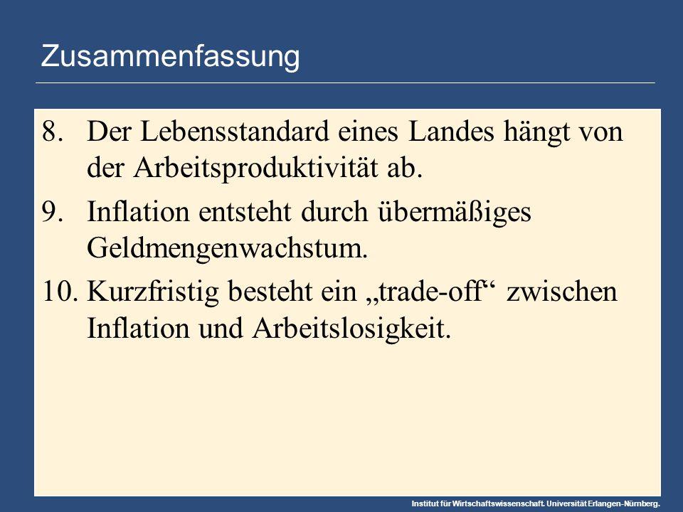 Institut für Wirtschaftswissenschaft. Universität Erlangen-Nürnberg. Zusammenfassung 8.Der Lebensstandard eines Landes hängt von der Arbeitsproduktivi