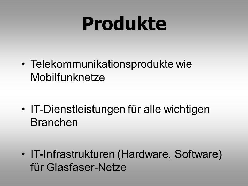 Produkte Telekommunikationsprodukte wie Mobilfunknetze IT-Dienstleistungen für alle wichtigen Branchen IT-Infrastrukturen (Hardware, Software) für Gla
