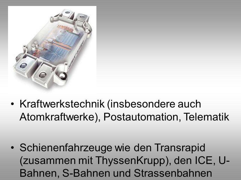Kraftwerkstechnik (insbesondere auch Atomkraftwerke), Postautomation, Telematik Schienenfahrzeuge wie den Transrapid (zusammen mit ThyssenKrupp), den