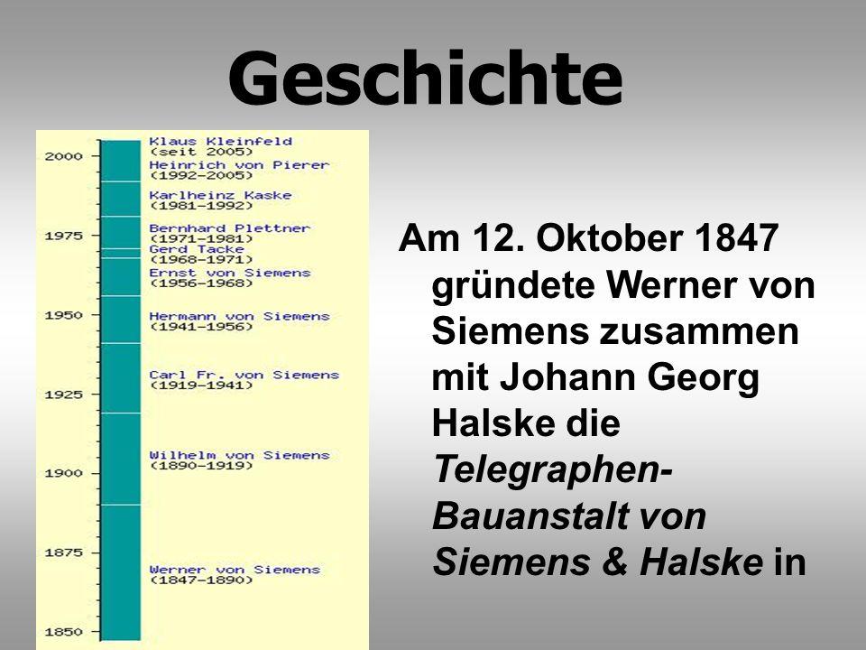 Am 12. Oktober 1847 gründete Werner von Siemens zusammen mit Johann Georg Halske die Telegraphen- Bauanstalt von Siemens & Halske in Geschichte