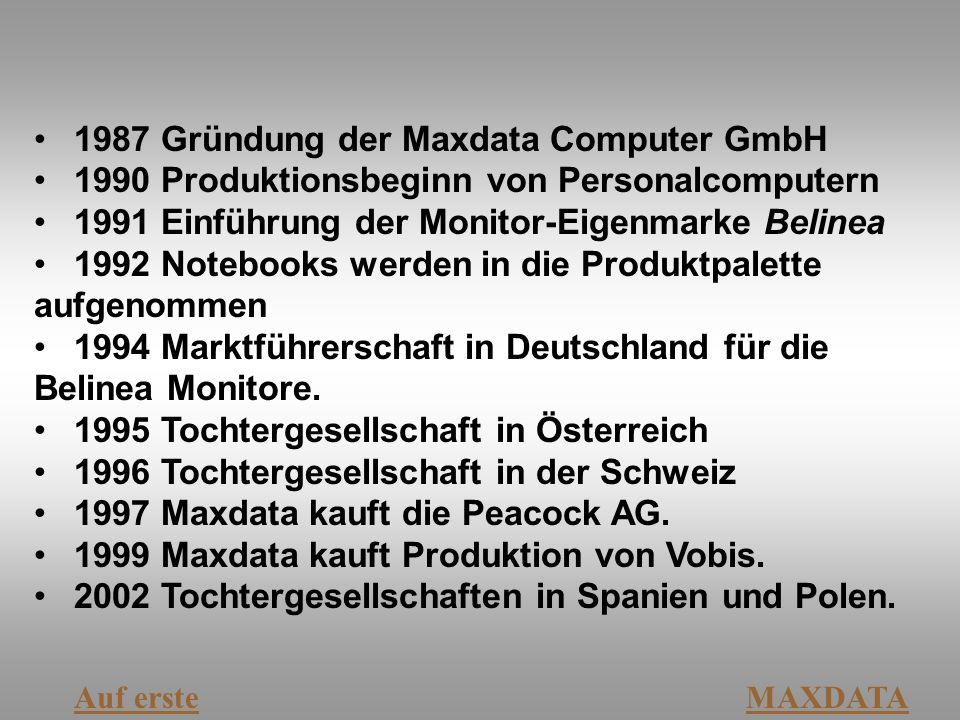 1987 Gründung der Maxdata Computer GmbH 1990 Produktionsbeginn von Personalcomputern 1991 Einführung der Monitor-Eigenmarke Belinea 1992 Notebooks wer