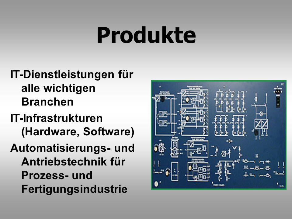 Produkte IT-Dienstleistungen für alle wichtigen Branchen IT-Infrastrukturen (Hardware, Software) Automatisierungs- und Antriebstechnik für Prozess- un