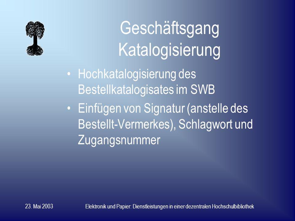 23. Mai 2003Elektronik und Papier: Dienstleistungen in einer dezentralen Hochschulbibliothek Geschäftsgang Erwerbung II lokaler Erwerbungssatz mit Erw