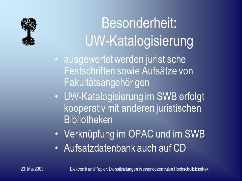23. Mai 2003Elektronik und Papier: Dienstleistungen in einer dezentralen Hochschulbibliothek OPAC WebPAC lokal wie im Internet verfügbar Einstieg über