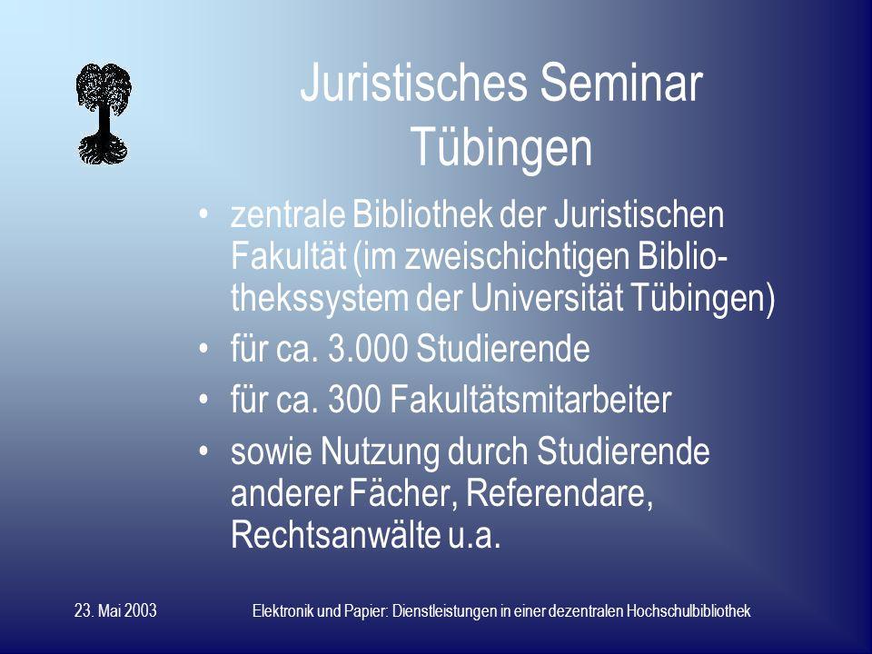 23. Mai 2003Elektronik und Papier: Dienstleistungen in einer dezentralen Hochschulbibliothek Dr.