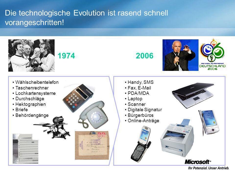 Die technologische Evolution ist rasend schnell vorangeschritten! 1974 Handy, SMS Fax, E-Mail PDA/MDA Laptop Scanner Digitale Signatur Bürgerbüros Onl