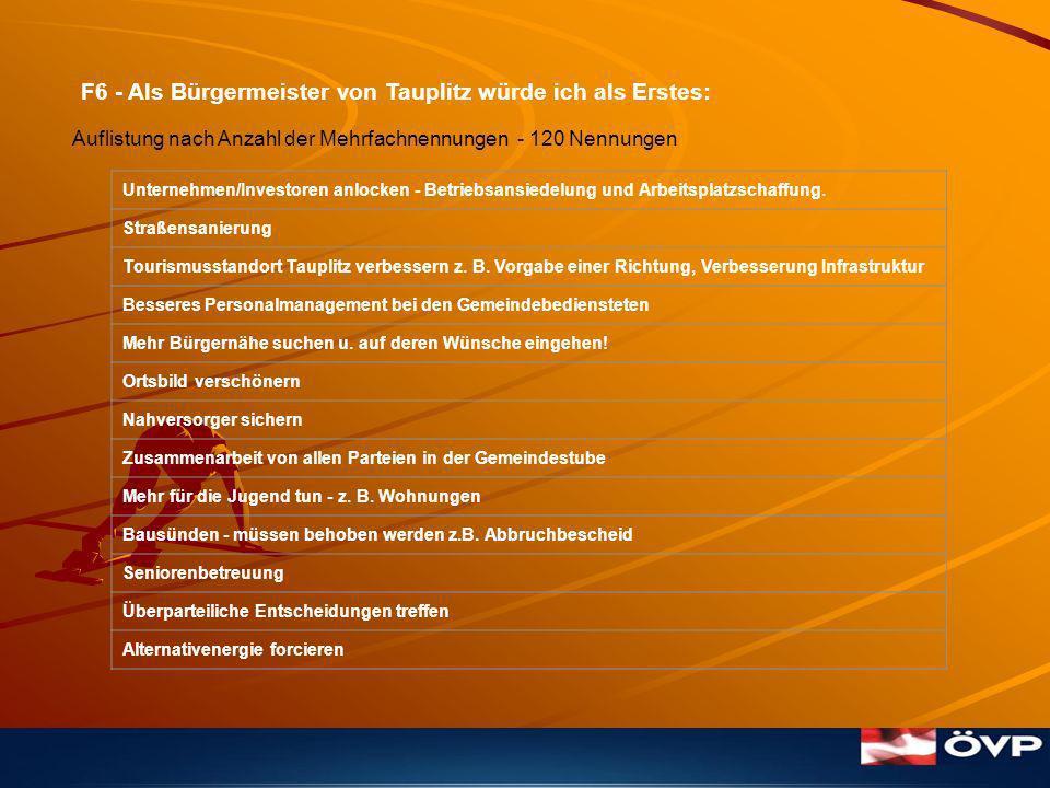 F6 - Als Bürgermeister von Tauplitz würde ich als Erstes: Unternehmen/Investoren anlocken - Betriebsansiedelung und Arbeitsplatzschaffung.