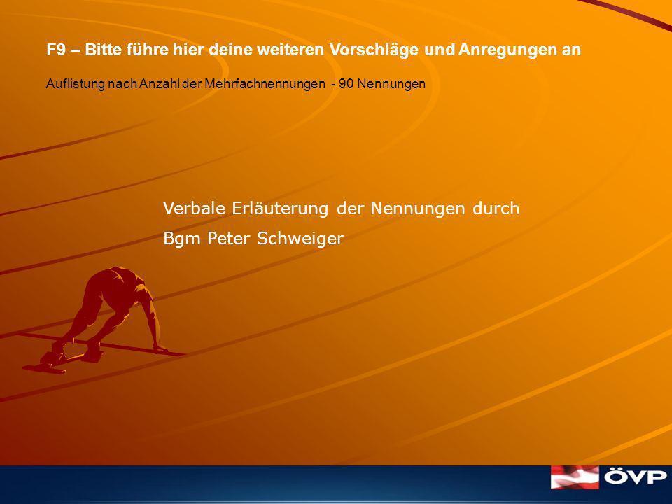 F9 – Bitte führe hier deine weiteren Vorschläge und Anregungen an Auflistung nach Anzahl der Mehrfachnennungen - 90 Nennungen Verbale Erläuterung der Nennungen durch Bgm Peter Schweiger