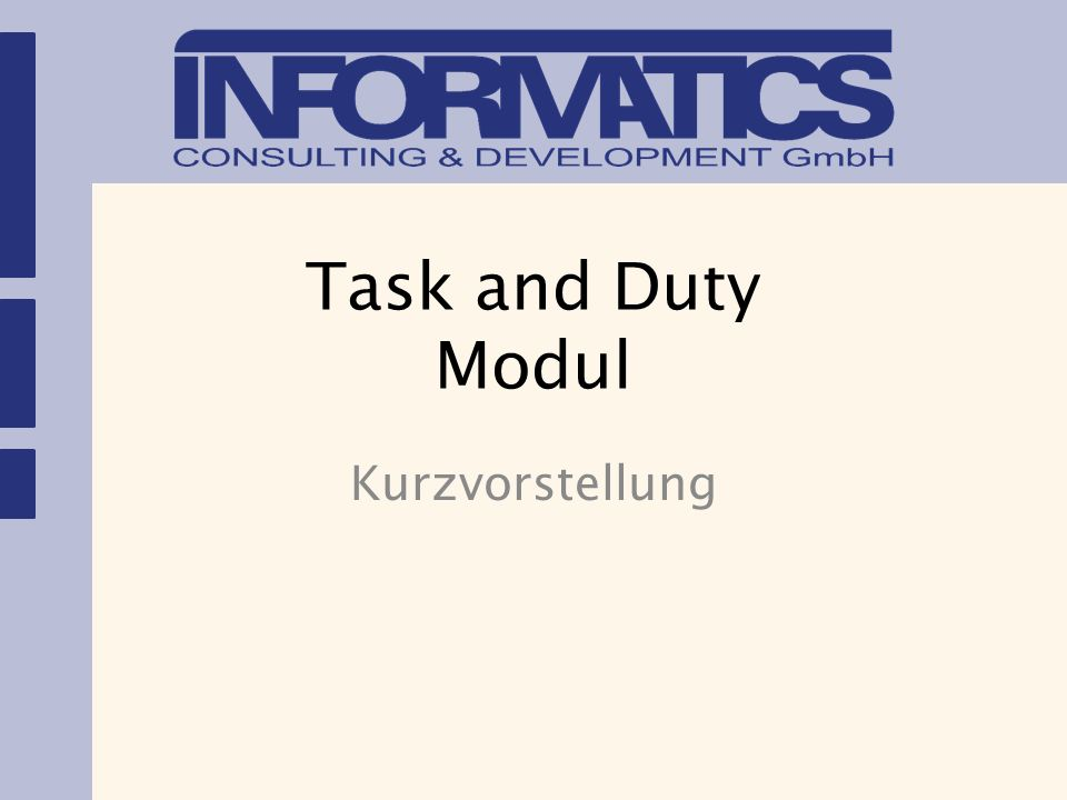 Task and Duty Modul Kurzvorstellung