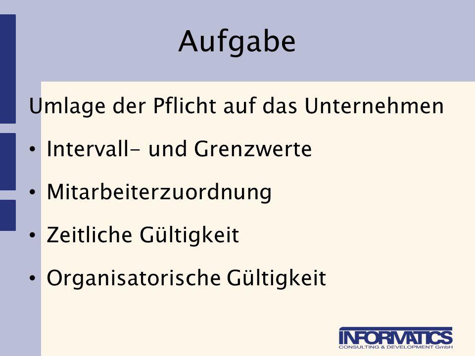 Aufgabe Umlage der Pflicht auf das Unternehmen Intervall- und Grenzwerte Mitarbeiterzuordnung Zeitliche Gültigkeit Organisatorische Gültigkeit