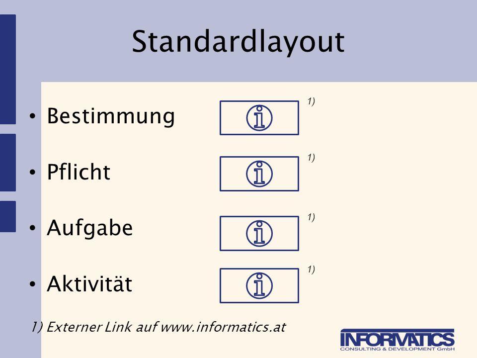 Standardlayout Bestimmung Pflicht Aufgabe Aktivität 1) Externer Link auf www.informatics.at 1)