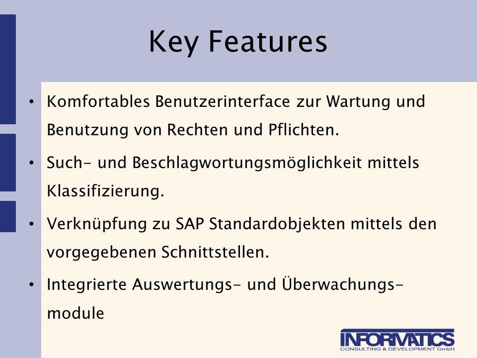 Key Features Komfortables Benutzerinterface zur Wartung und Benutzung von Rechten und Pflichten.