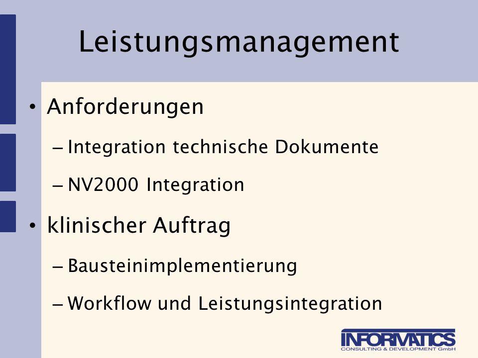 Klinische Dokumentation Implementierung – Generator 1 und 2 – automatische/interaktive Übernahme/Vorbelegung aus beliebigen Quellen