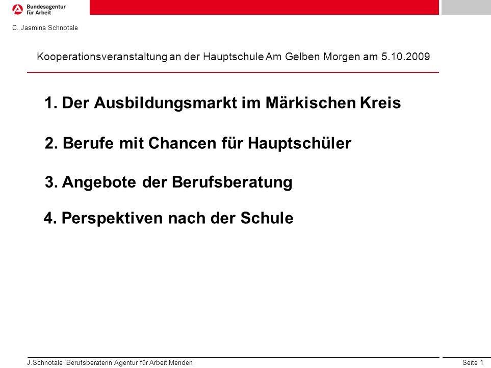 Seite 1 J.Schnotale Berufsberaterin Agentur für Arbeit Menden 1. Der Ausbildungsmarkt im Märkischen Kreis 2. Berufe mit Chancen für Hauptschüler 3. An