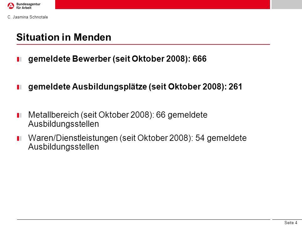 Seite 4 Situation in Menden gemeldete Bewerber (seit Oktober 2008): 666 gemeldete Ausbildungsplätze (seit Oktober 2008): 261 Metallbereich (seit Oktob