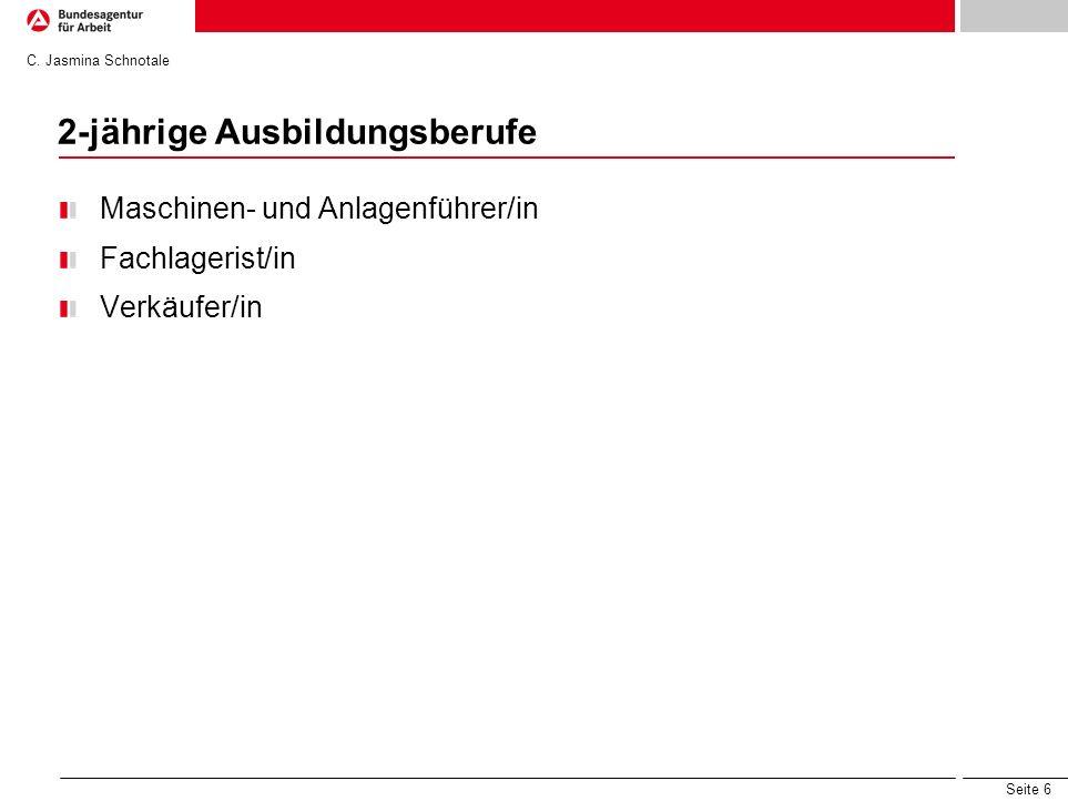 Seite 6 2-jährige Ausbildungsberufe Maschinen- und Anlagenführer/in Fachlagerist/in Verkäufer/in C. Jasmina Schnotale