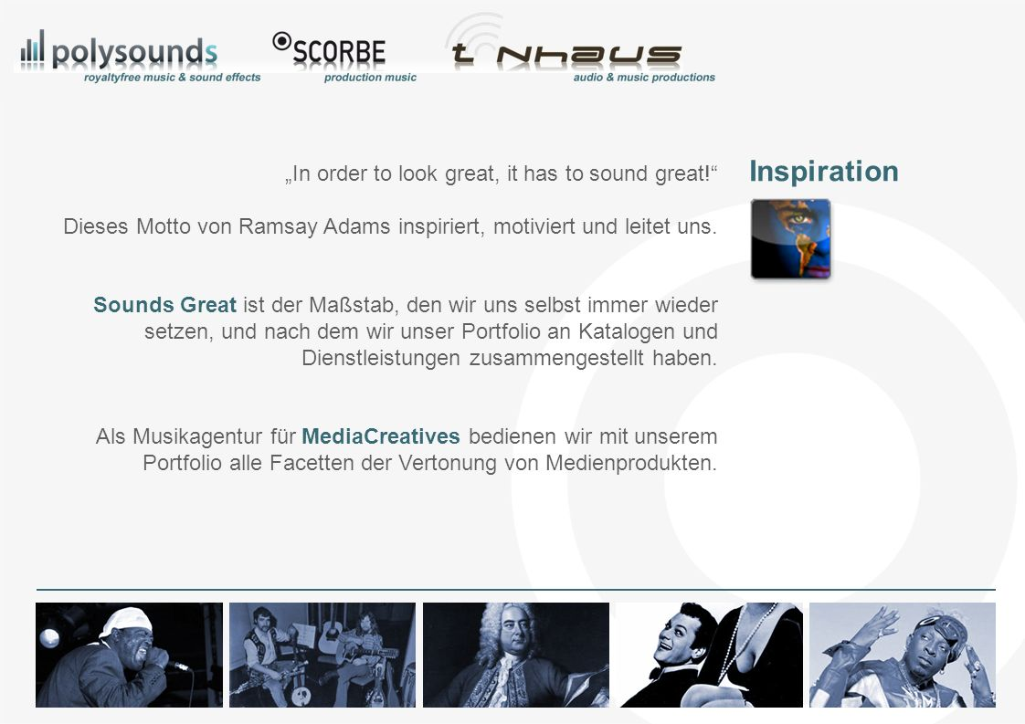 Das Portfolio Onlineshops Musikproduktion Sounddesign Audioproduktion Musikberatung Rights Clearing Extras