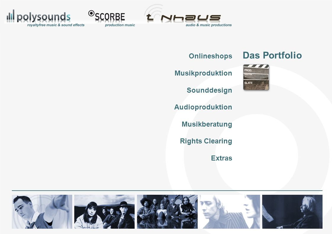 Das Portfolio Onlineshops Musikproduktion Sounddesign Audioproduktion Musikberatung Rights Clearing Extras