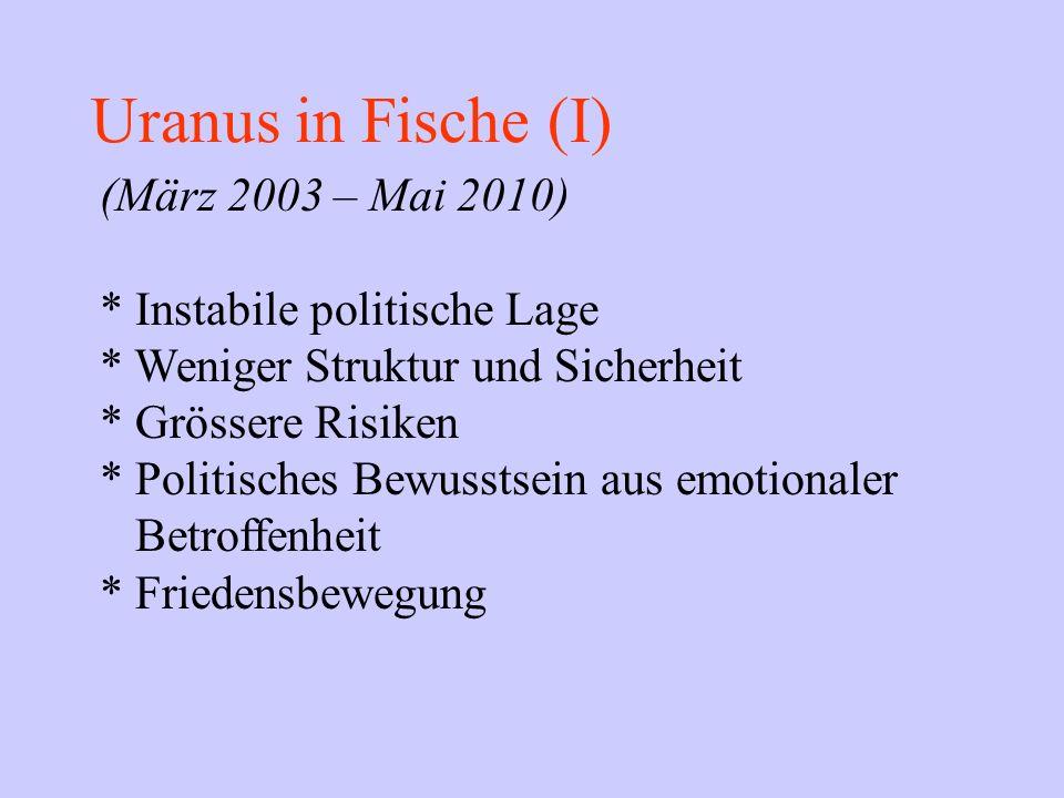 Uranus in Fische (I) (März 2003 – Mai 2010) * Instabile politische Lage * Weniger Struktur und Sicherheit * Grössere Risiken * Politisches Bewusstsein