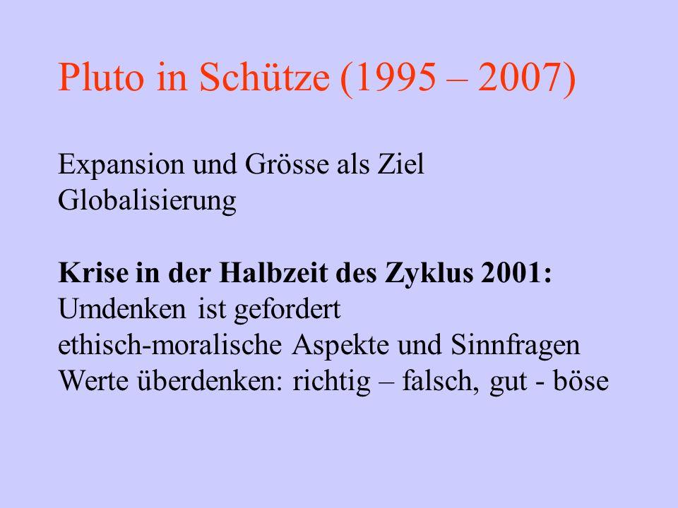 Pluto in Schütze (1995 – 2007) Expansion und Grösse als Ziel Globalisierung Krise in der Halbzeit des Zyklus 2001: Umdenken ist gefordert ethisch-mora