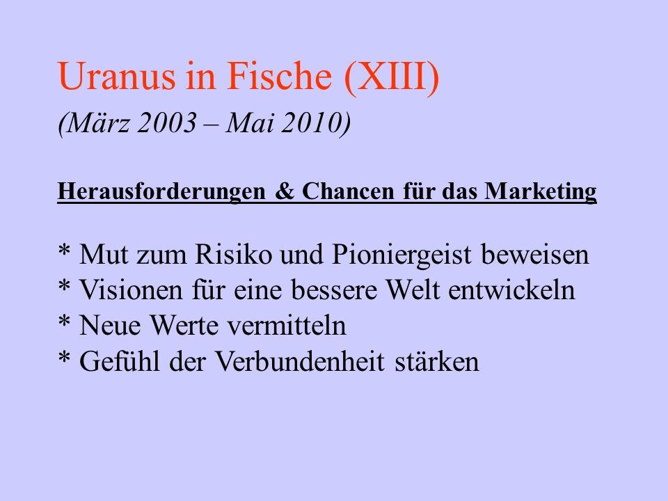 Uranus in Fische (XIII) (März 2003 – Mai 2010) Herausforderungen & Chancen für das Marketing * Mut zum Risiko und Pioniergeist beweisen * Visionen für