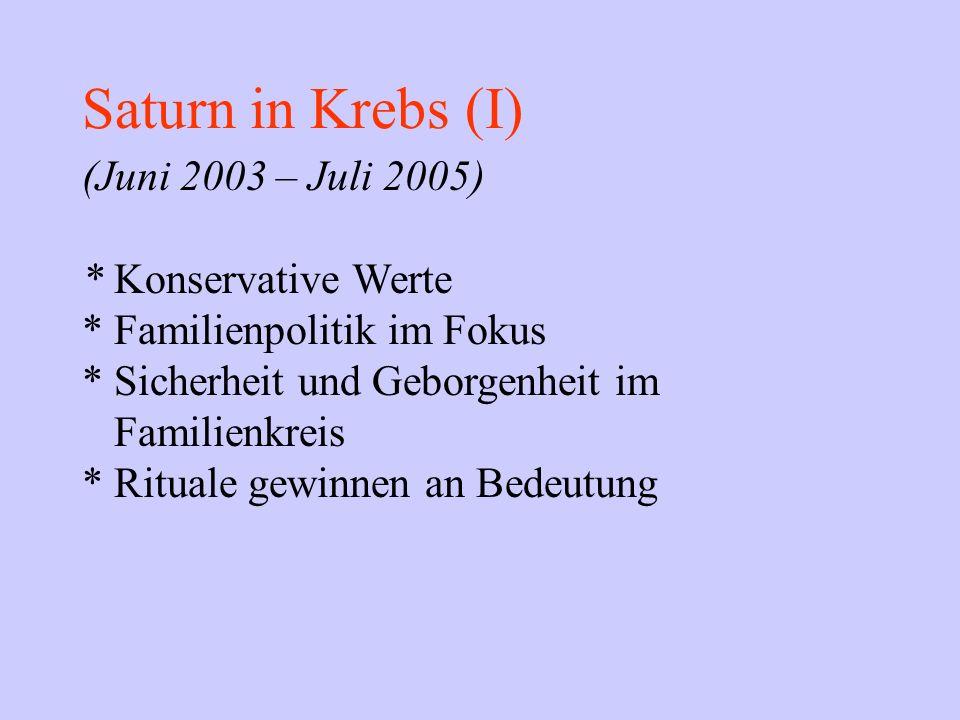 Saturn in Krebs (I) (Juni 2003 – Juli 2005) * Konservative Werte * Familienpolitik im Fokus * Sicherheit und Geborgenheit im Familienkreis * Rituale g