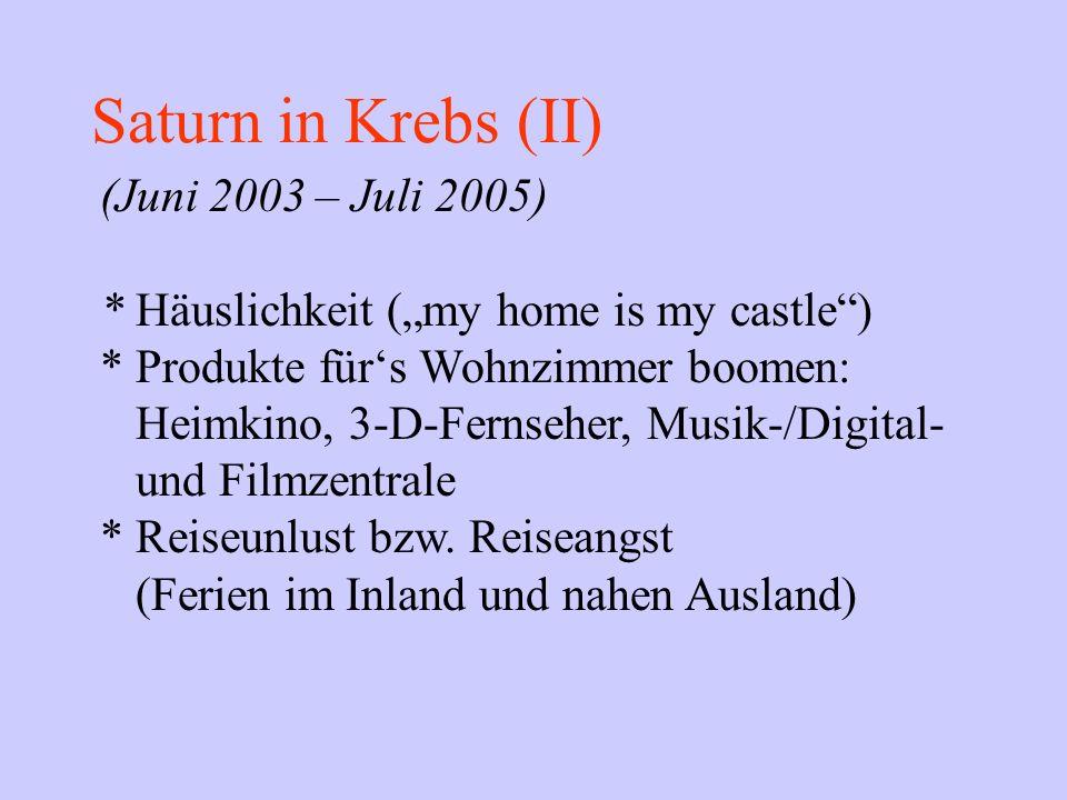 Saturn in Krebs (II) (Juni 2003 – Juli 2005) * Häuslichkeit (my home is my castle) * Produkte fürs Wohnzimmer boomen: Heimkino, 3-D-Fernseher, Musik-/