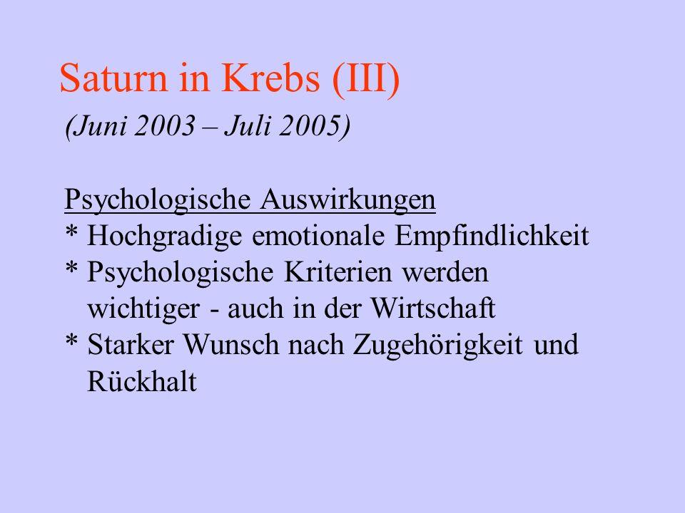 Saturn in Krebs (III) (Juni 2003 – Juli 2005) Psychologische Auswirkungen * Hochgradige emotionale Empfindlichkeit * Psychologische Kriterien werden w