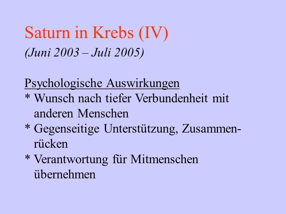 Saturn in Krebs (IV) (Juni 2003 – Juli 2005) Psychologische Auswirkungen * Wunsch nach tiefer Verbundenheit mit anderen Menschen * Gegenseitige Unters