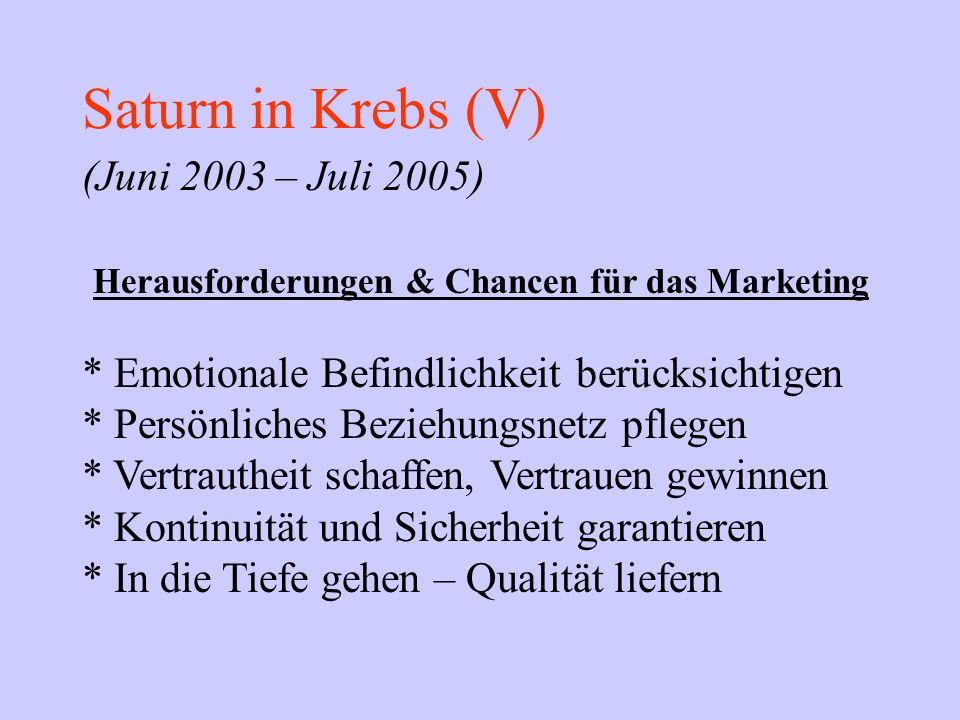 Saturn in Krebs (V) (Juni 2003 – Juli 2005) Herausforderungen & Chancen für das Marketing * Emotionale Befindlichkeit berücksichtigen * Persönliches B