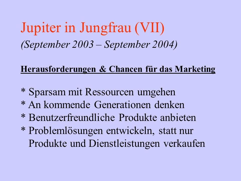 Jupiter in Jungfrau (VII) (September 2003 – September 2004) Herausforderungen & Chancen für das Marketing * Sparsam mit Ressourcen umgehen * An kommen