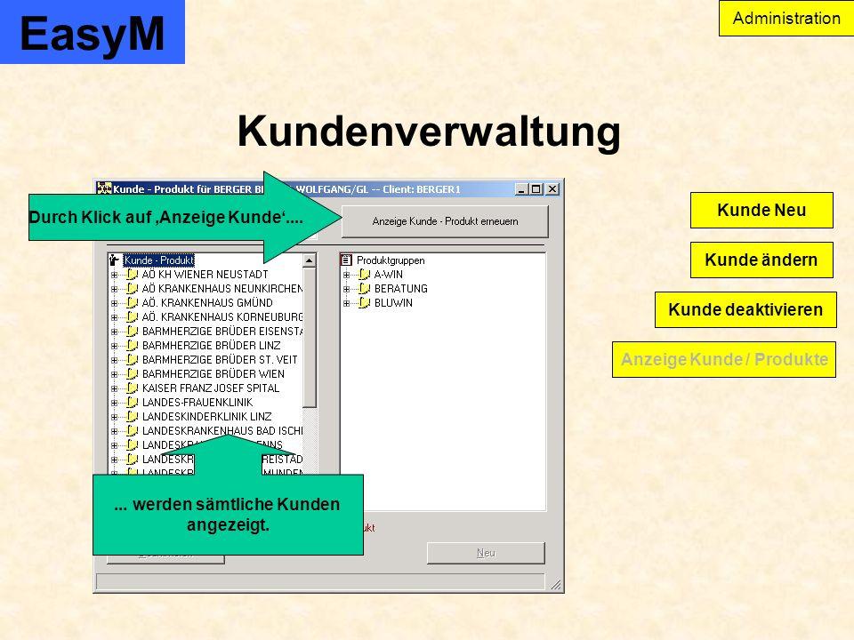 EasyM Kundenverwaltung Administration Anzeige Kunde / Produkte Kunde ändern Kunde Neu Kunde deaktivieren Durch Klick auf Anzeige Kunde.......