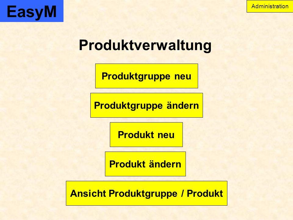 EasyM Produktverwaltung Produkt ändern Produktgruppe ändern Produktgruppe neu Produkt neu Ansicht Produktgruppe / Produkt Administration