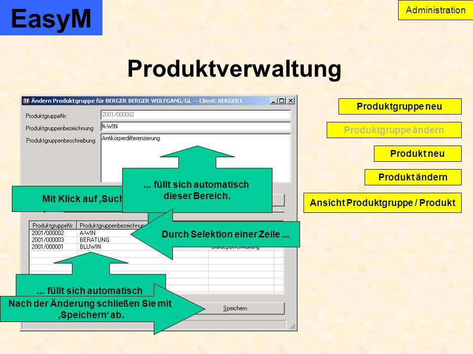 EasyM Produktverwaltung Administration Produkt ändern Produktgruppe ändern Produktgruppe neu Produkt neu Ansicht Produktgruppe / Produkt...