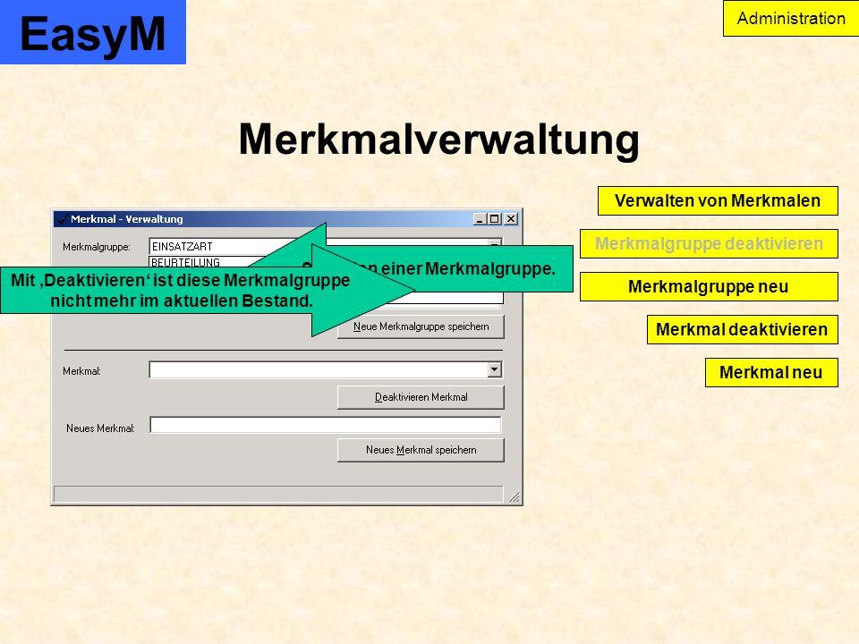 EasyM Merkmalverwaltung Administration Merkmal deaktivieren Merkmalgruppe deaktivieren Verwalten von Merkmalen Merkmal neu Merkmalgruppe neu Selektion einer Merkmalgruppe.