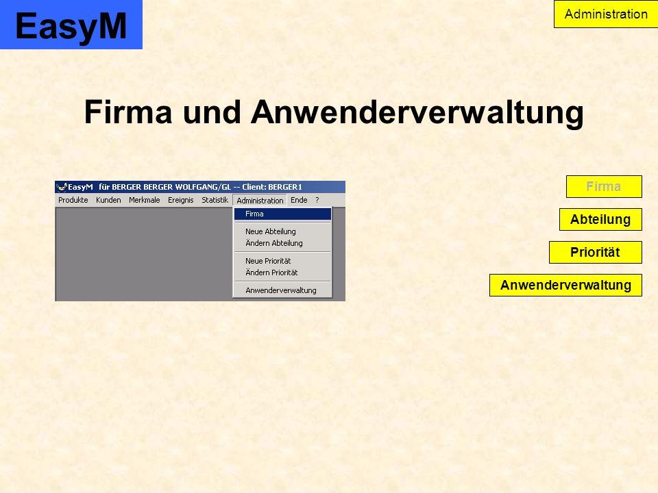EasyM Firma und Anwenderverwaltung Anwenderverwaltung Abteilung Firma Priorität Administration