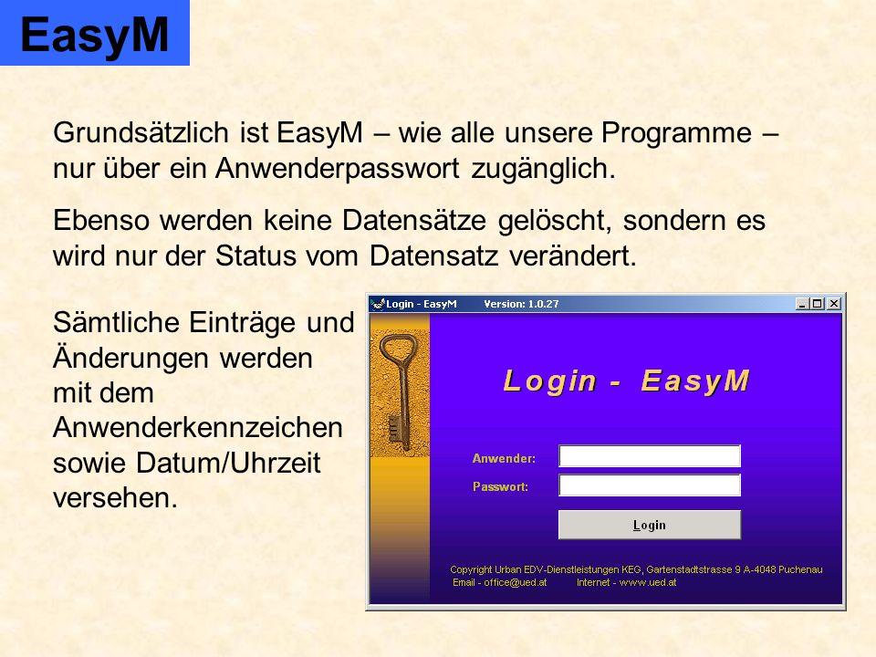 EasyM Produktverwaltung Administration Produkt ändern Produktgruppe ändern Produktgruppe neu Produkt neu Ansicht Produktgruppe / Produkt