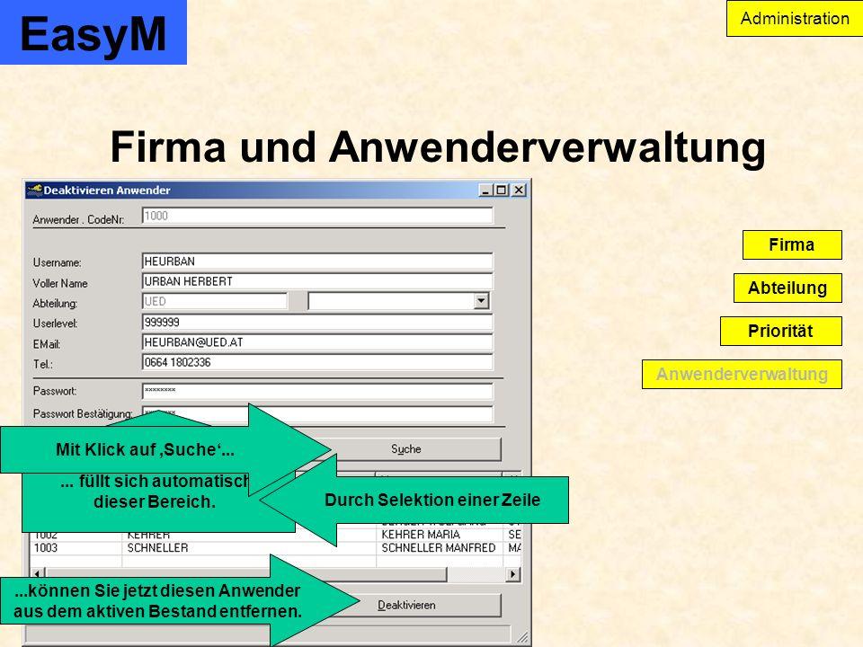 EasyM Firma und Anwenderverwaltung Administration Anwenderverwaltung Abteilung Firma Priorität...