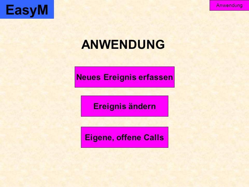 Ereignis ändern Eigene, offene Calls Neues Ereignis erfassen ANWENDUNG EasyM Anwendung