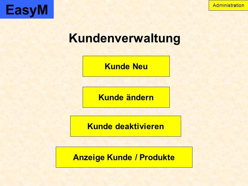 EasyM Administration Kundenverwaltung Anzeige Kunde / Produkte Kunde ändern Kunde Neu Kunde deaktivieren