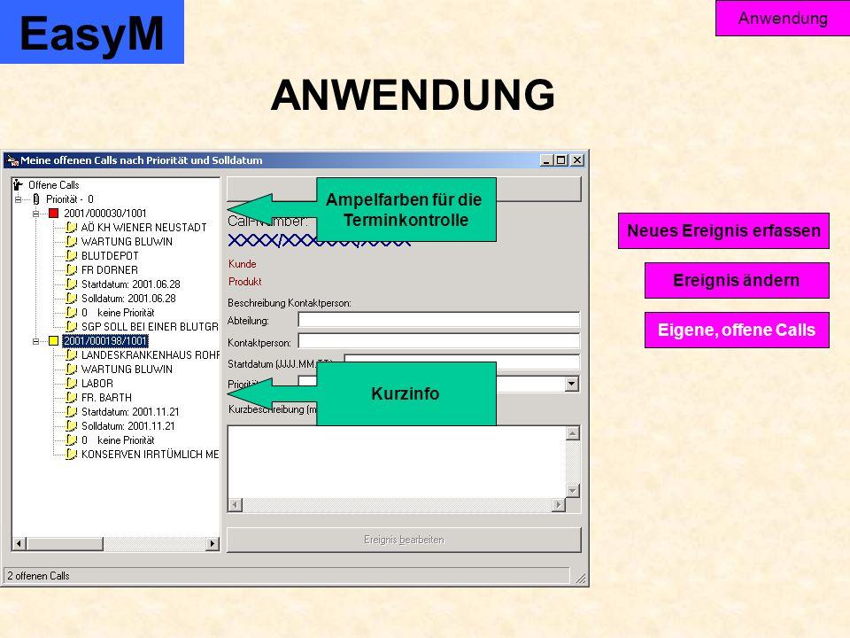 EasyM Anwendung Ereignis ändern Eigene, offene Calls Neues Ereignis erfassen ANWENDUNG Ampelfarben für die Terminkontrolle Kurzinfo