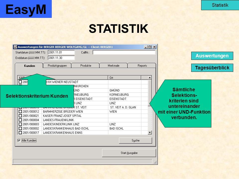 STATISTIK EasyM Statistik Tagesüberblick Auswertungen Selektionskriterium Kunden Sämtliche Selektions- kriterien sind untereinander mit einer UND-Funktion verbunden.