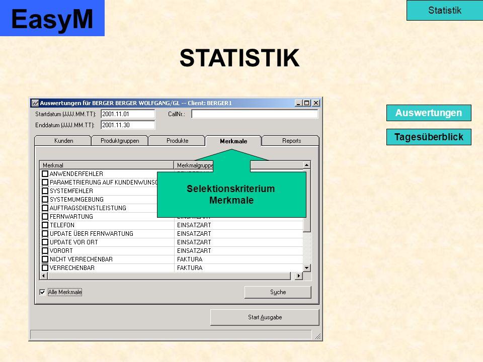 STATISTIK EasyM Statistik Tagesüberblick Auswertungen Selektionskriterium Merkmale