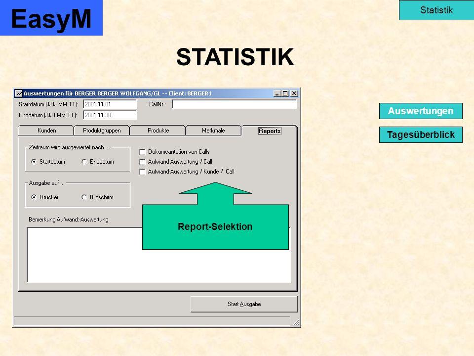 STATISTIK EasyM Statistik Tagesüberblick Auswertungen Report-Selektion